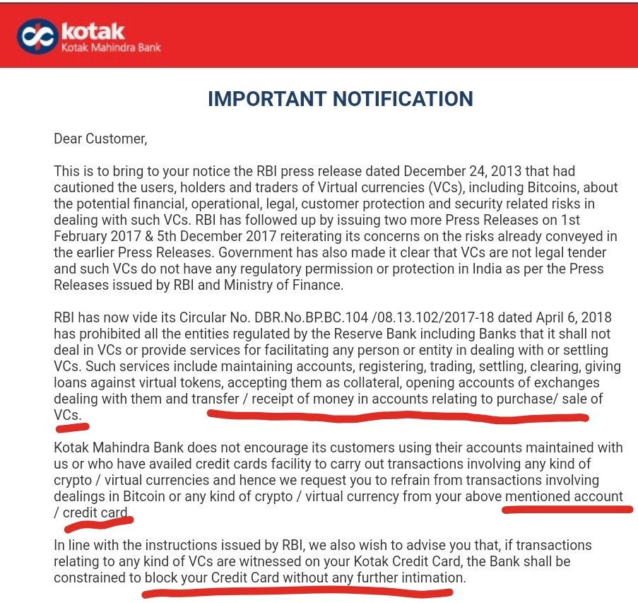 Kotak bitcoin letter to their customers, May 2019