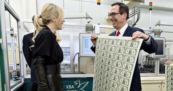 Mnuchin thin air dollars.