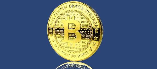Gold bitcoin coin, abstract.