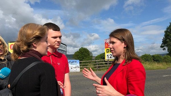 Jo Swinson at border in Northern Ireland