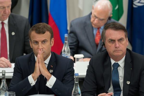 Macron with the Brazilian president.