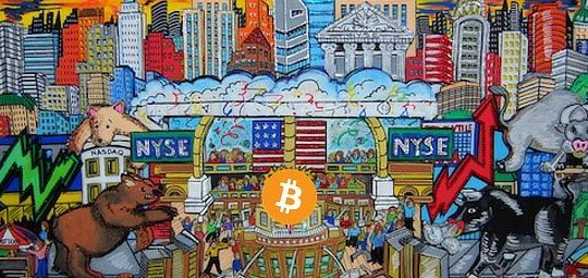 Bitcoin, stocks, abstract