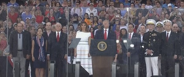 Trump July 4 2019 speech behind glass.