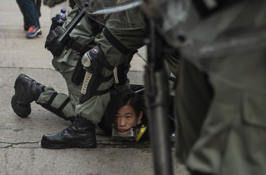 Hong Kong protester being arrested, Oct 2019