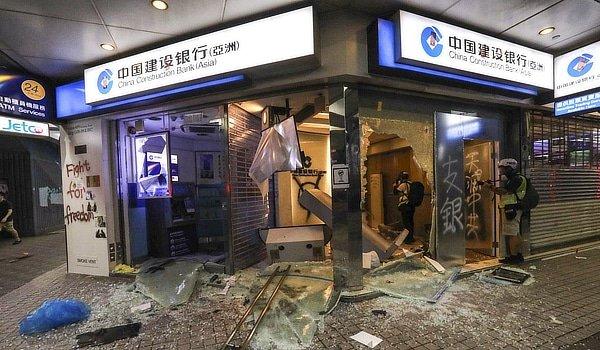 Chinese bank branch in Hong Kong ravaged, October 2019