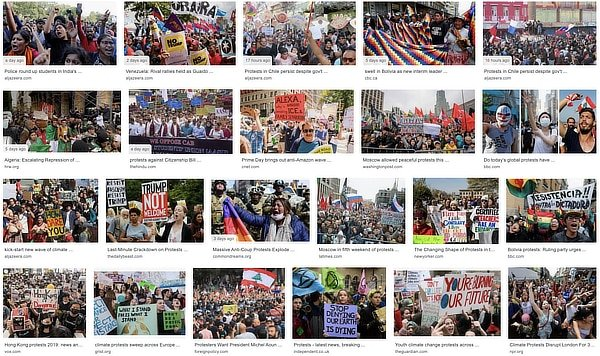 The wave of protests globally, November 2019