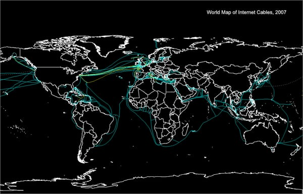 World map of internet cables in 2007