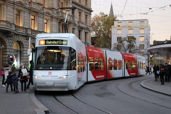 Bitcoin Suisse tram ad.