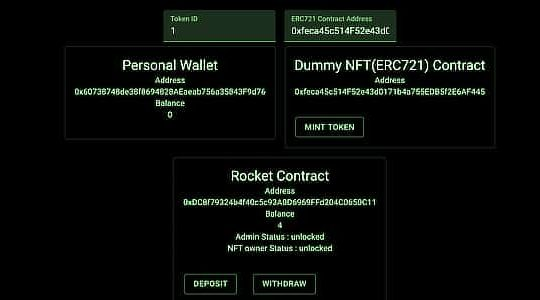 NFT loan collaterals on ethereum testnet, Jan 2020