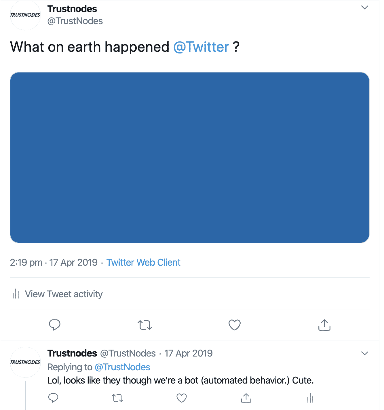 Twitter locks Trustnodes' account, April 2019