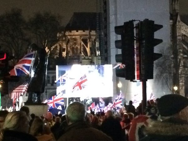 Brexit day at Parliament Square, Jan 31 2020