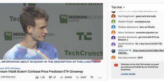 Vitalik Buterin impersonated by livestream scammers, Feb 2020