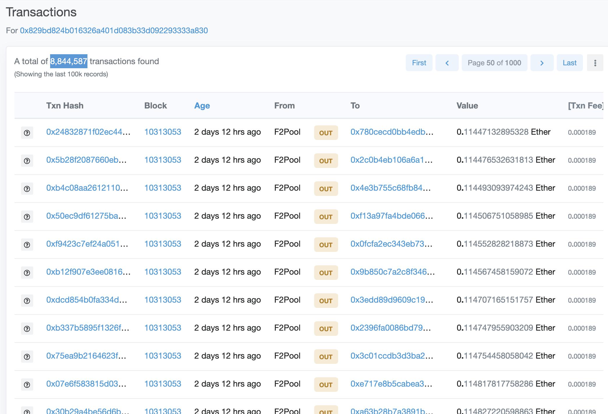 F2Pool spamming ethereum, June 2020