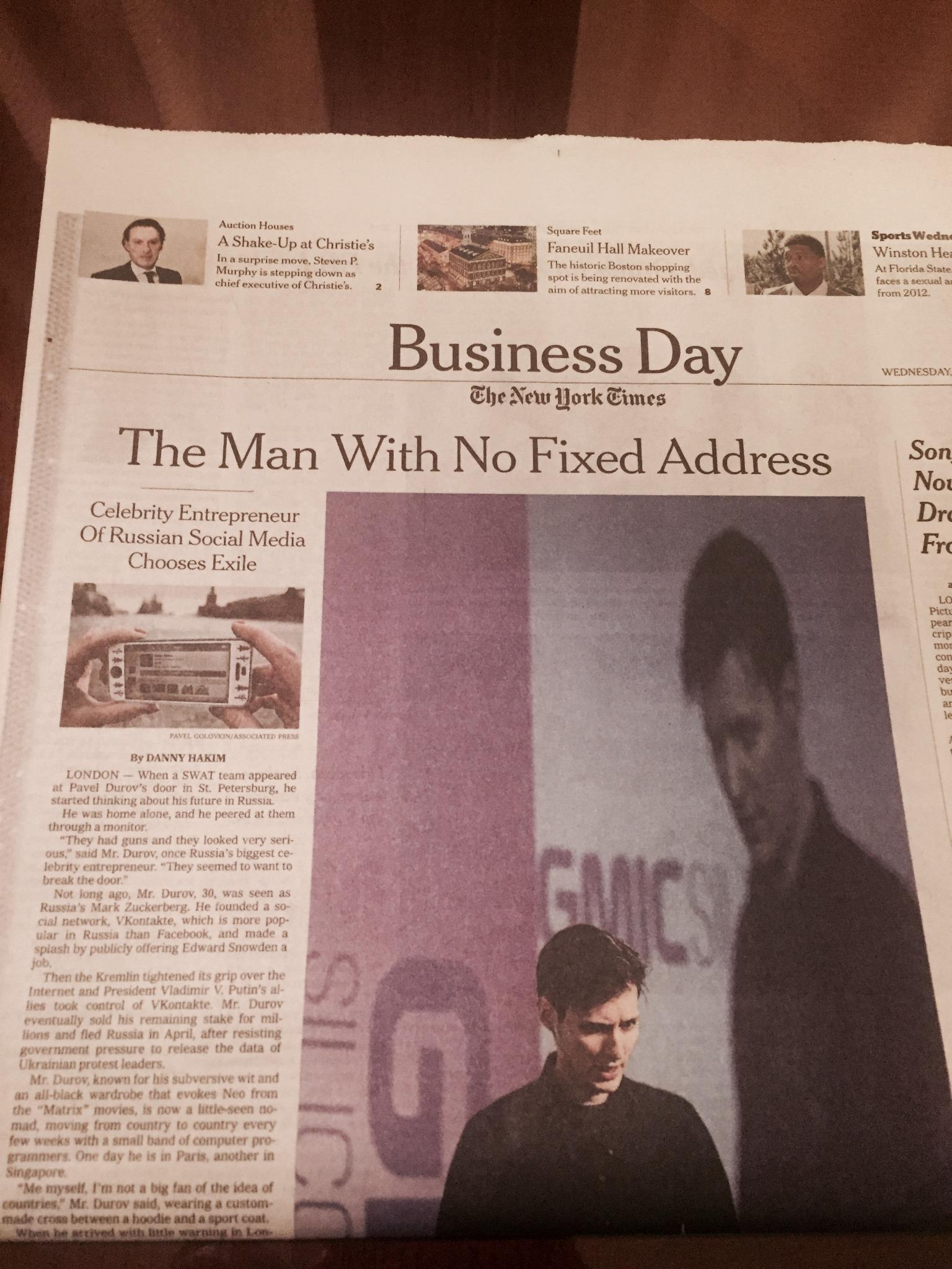 Pavel Durov chooses exile, reports NYTimes in 2014