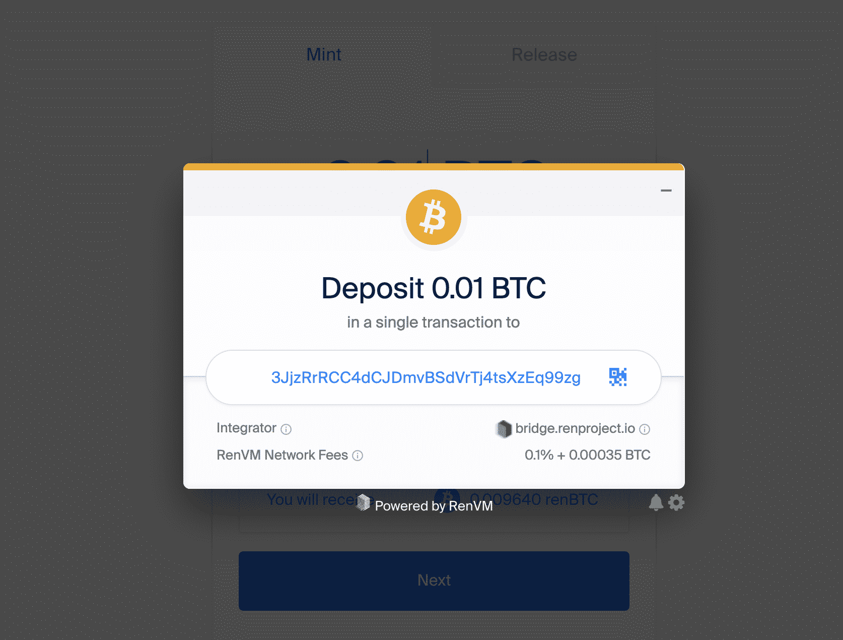 RenBTC address deposit, June 2020
