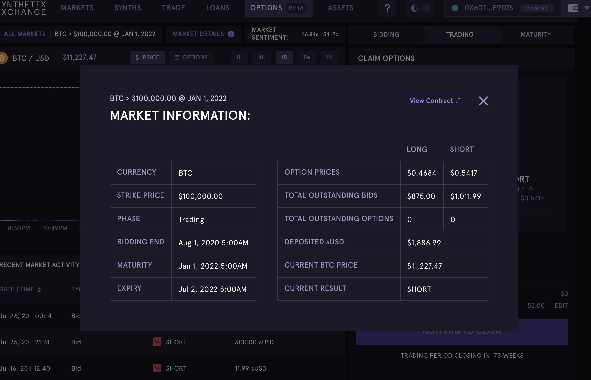 Bitcoin option on Synthetix, August 2020