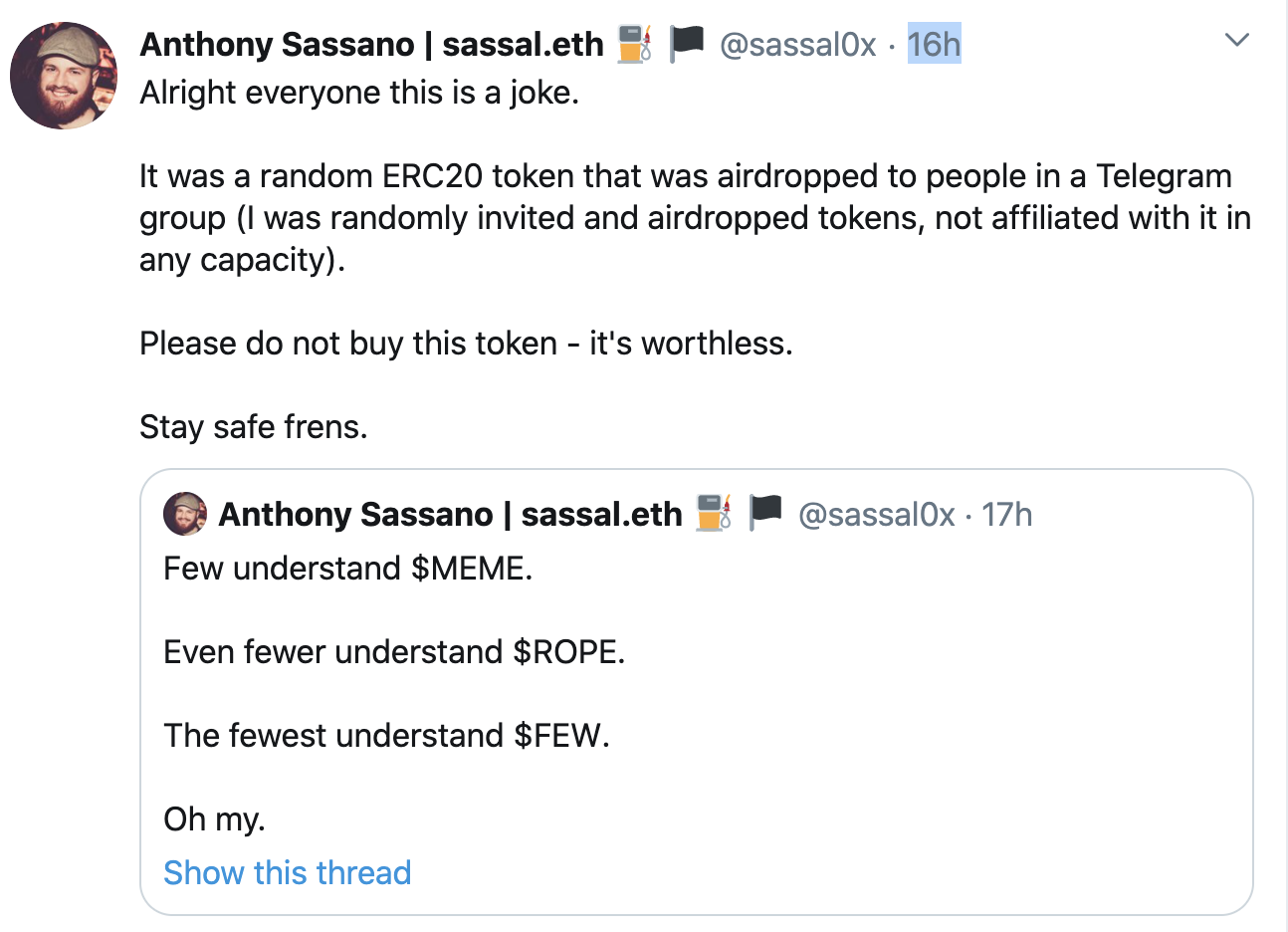 Anthony Sassano pumps worthless token, Sep 2020