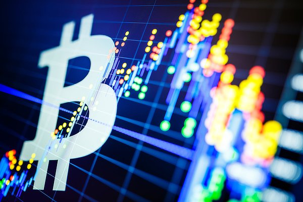 Bitcoin and stocks, abstract.