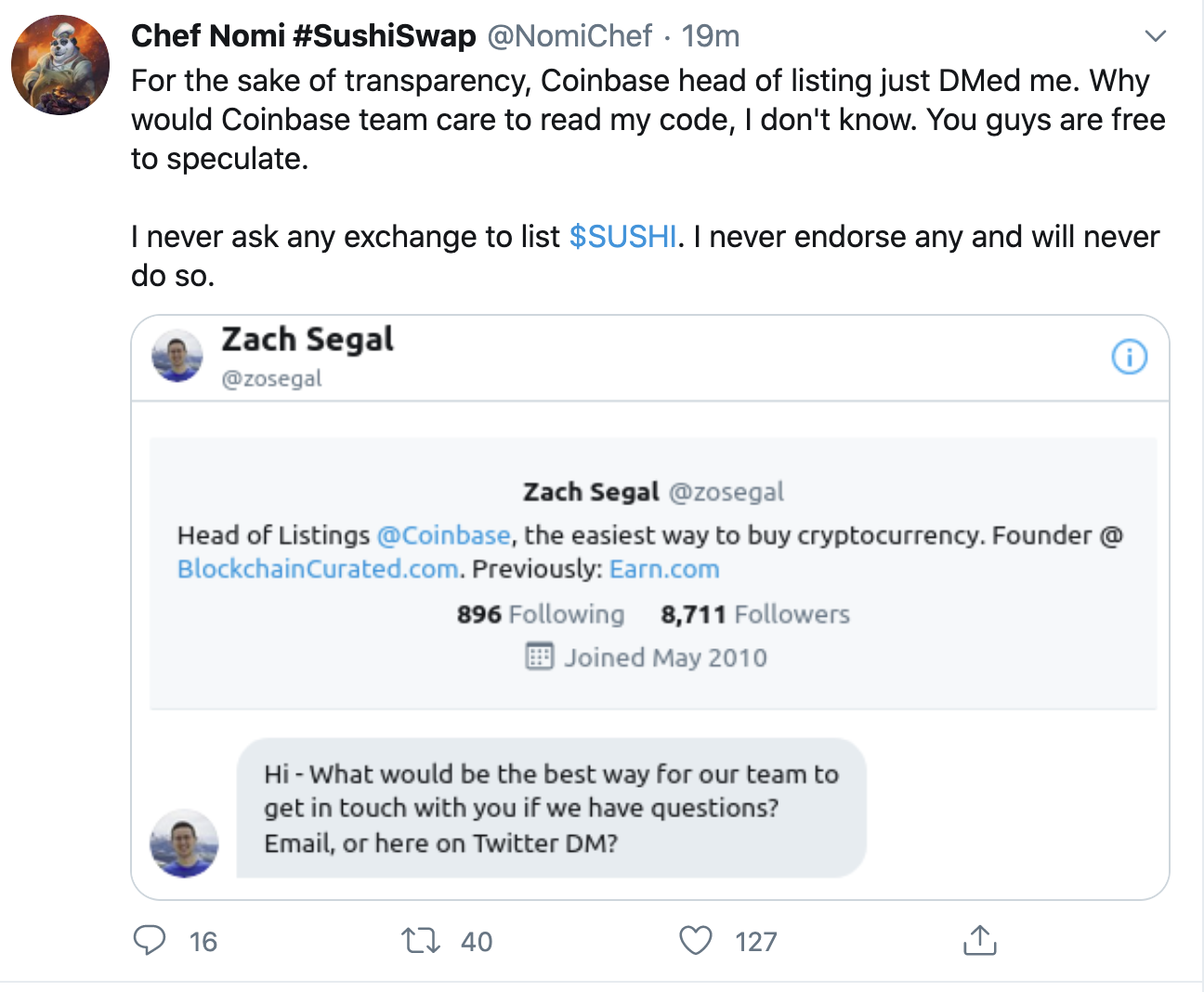 Sushi chef leaks Coinbase contact, Sep 2020