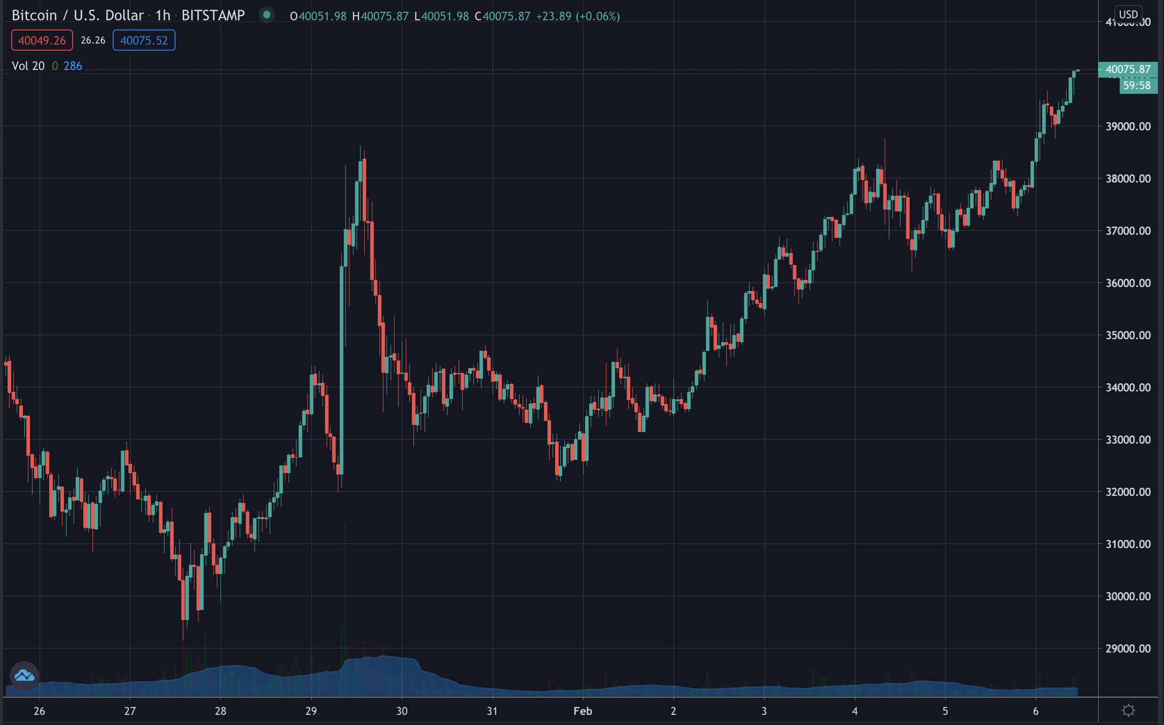Bitcoin's price, Feb 2021