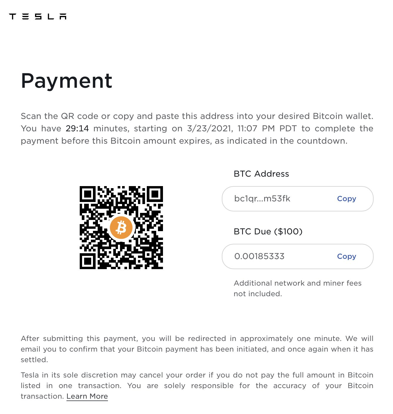 Paying Tesla with Bitcoin, March 2021