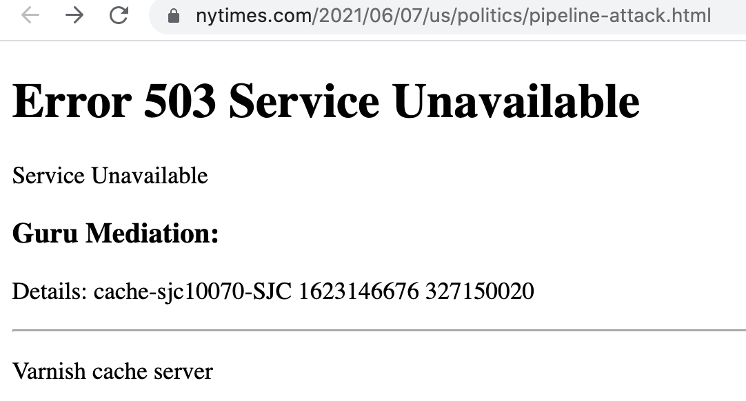 NY Times and Global Media goes down, June 2021