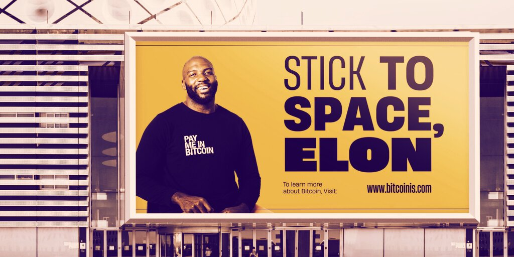 NFL Star Russell Okung bitcoin billboard telling off Musk, June 2021