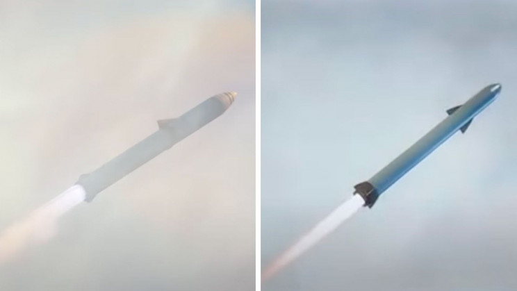 SpaceX to the left, China clone to the right