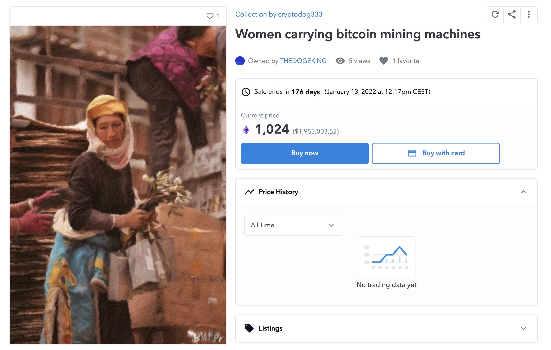 Woman carrying bitcoin mining asics machines NFT, July 2021