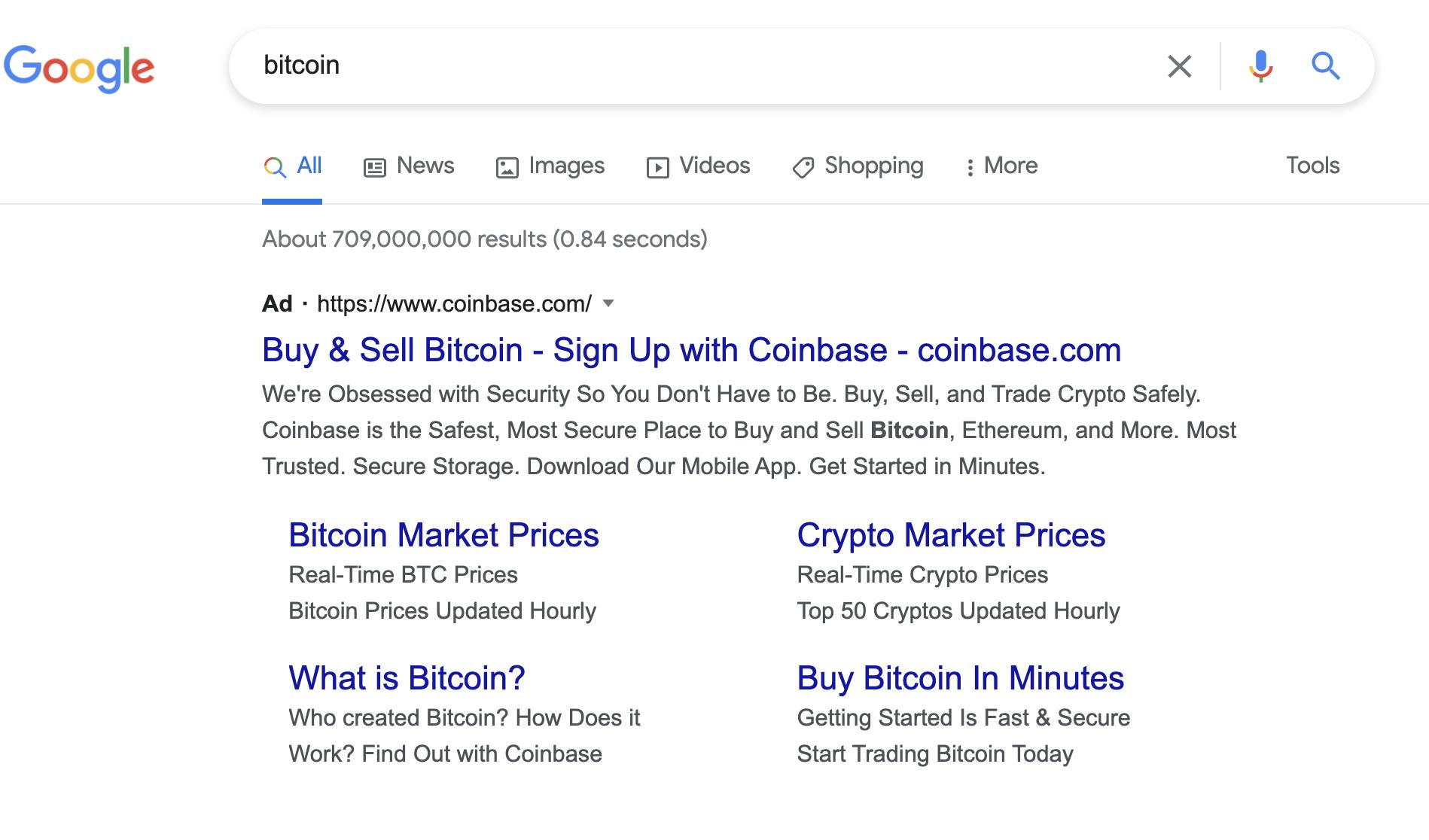 Coinbase's bitcoin ad on Google, August 2021