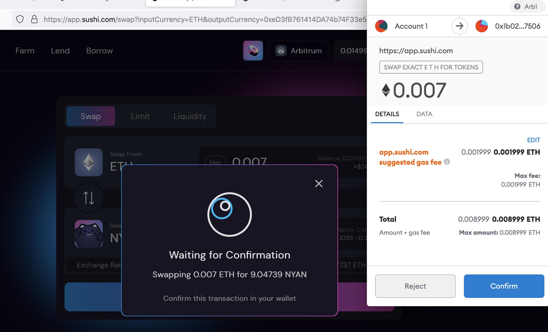 Buying Nyan on Arbitrumed Sushiswap, Sep 2021