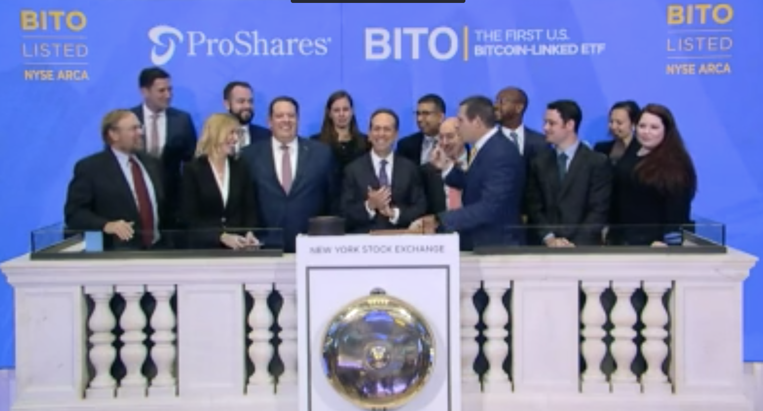 First bitcoin ETF rings NYSE bell, Oct 2021